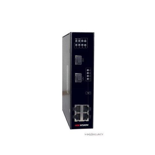 Hikvision DS-3T0306P 6 portos ipari PoE switch (120 W); 4 PoE + 2 SFP uplink port; nem menedzselhető