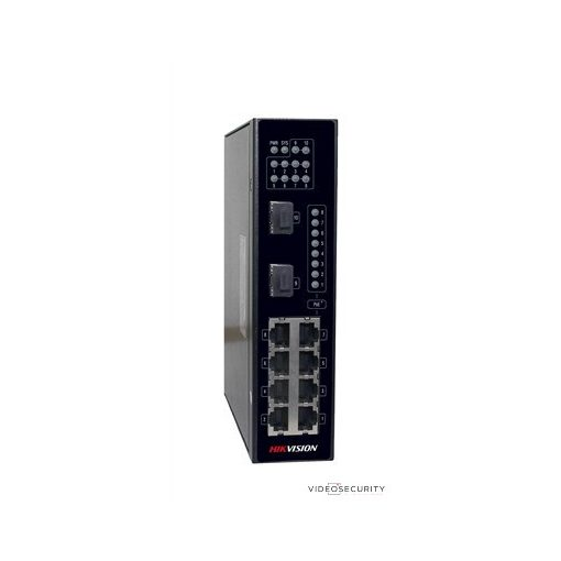 Hikvision DS-3T0310P 10 portos ipari PoE switch (240 W); 8 PoE + 2 SFP uplink port; nem menedzselhető