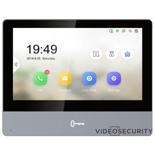 """Hikvision DS-KH8350-WTE1-Grey IP video-kaputelefon beltéri egység; 7"""" LCD kijelző; 1024x600 felbontás; WiFi; PoE"""
