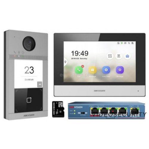 Hikvision DS-KIS604-S Egylakásos IP video-kaputelefon szett DS-KV8113-WME1 + DS-KH6320-WTE1 + PoE switch + 16GB microSD