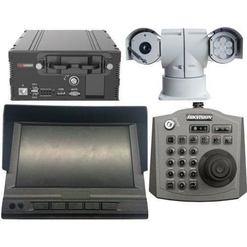 Mobil biztonsági állomás: 4 csatornás THD mobil DVR; kezelő; kijelző; forgózsámolyos kamera