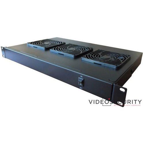 """Excel IVU3-BK 19"""" 1U fekete színű ventilátor 3 ventilátor + kapcsoló"""