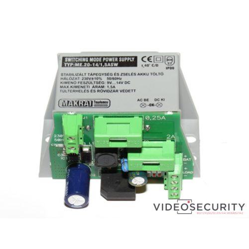 Makrai ME.20-14/1.5ASW Szünetmentesíthető tápegység 230 VAC/12 VDC-13.8 VDC 1,5 A akkumulátor töltés