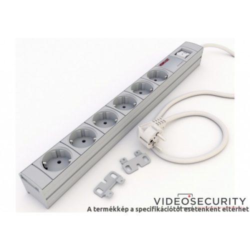 """Kontaset RACK/MISC/K/001 6-os elosztósáv kapcsolóval; fehér; 19""""-os"""